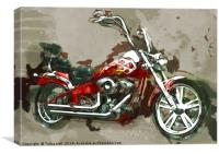 Red Chopper Motorbike, Watercolour oil grunge, Canvas Print