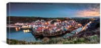 Sunset, Staithes,east coast,, Canvas Print