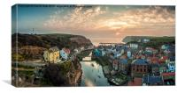 Staithes, Village, at Sunrise,, Canvas Print