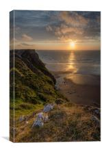 Sunset at Rhosilli, Canvas Print