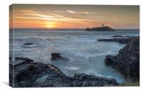 Godrevy Lighthouse at Sunset, Canvas Print