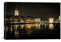 Zurich by Night, Canvas Print