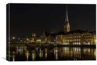 Zurich by Night , Canvas Print
