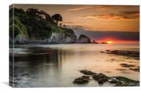 Lee Bay sunset, Canvas Print