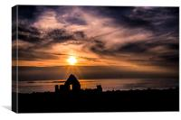 Sunset over Dunluce Castle Window, Northern Irelan, Canvas Print