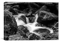 Lodore Falls, Black & White, Canvas Print