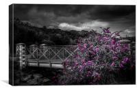 Bridge with buddleia colour pop., Canvas Print
