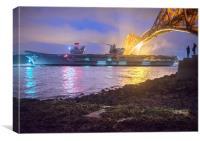 HMS Queen Elizabeth deprts, Canvas Print