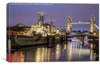 hms Belfast at anchor on the Thames, Canvas Print