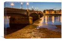 low tide at Battersea  bridge, Canvas Print
