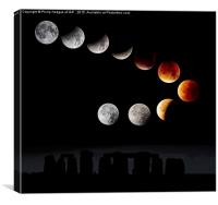 Lunar Eclipse Over Stone Henge, Canvas Print