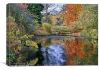 """Autumn reflections at Thorp Perrow lake"", Canvas Print"