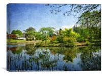 """Blue sky reflections at Thorp Perrow"", Canvas Print"