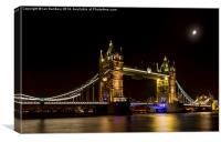 Moon over Tower bridge, Canvas Print