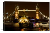 HMS Belfast by Tower Bridge, Canvas Print