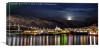 Tromso Harbour at Night, Canvas Print