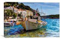 Boat in Greek islands, Canvas Print