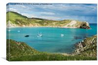 Bright Sky over Lulworth Cove with rain out to sea, Canvas Print