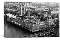 Parliament from the London Eye Monochrome, Canvas Print
