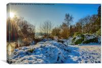Lakeside Winter Scene, Canvas Print