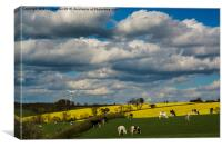 View over fields at Eastwell Hill in the Vale of , Canvas Print
