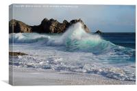 Waves on Porthcurno Beach, Canvas Print