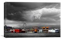 Funfair on a stormy day in Llandudno, Canvas Print