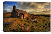 Sunlight on Llangelynnin Church, Conwy, Canvas Print