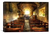 Sunlit Ancient Chapel Interior, Canvas Print