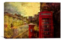 A Red Pillar Box and Telephone Booth on Castle St, Canvas Print