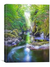 The Fairy Glen Gorge on The River Conwy, Canvas Print