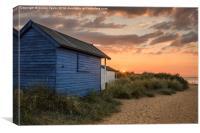 Beach hut sunset in the dunes, Canvas Print