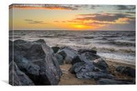 Heacham Sunset on the rocks, Canvas Print
