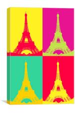 Eiffel Tower Andy Warhol Style , Canvas Print