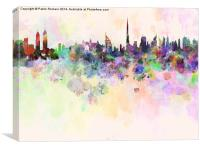 Dubai skyline in watercolor background, Canvas Print