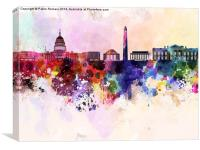 Washington DC skyline in watercolor background , Canvas Print
