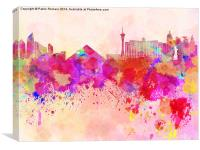 Las Vegas skyline in watercolor background, Canvas Print