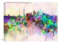 Shanghai skyline in watercolor background, Canvas Print
