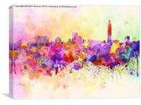Taipei skyline in watercolor background, Canvas Print