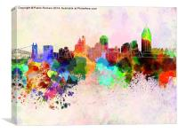 Cincinnati skyline in watercolor background, Canvas Print
