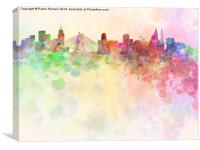 Sao Paulo skyline in watercolor background, Canvas Print
