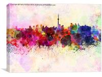 Toronto skyline in watercolor background, Canvas Print