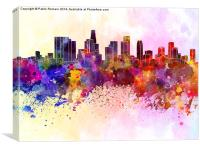 Los Angeles skyline in watercolor background, Canvas Print