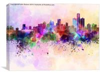 Detroit skyline in watercolor background, Canvas Print