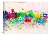 Macau skyline in watercolor background, Canvas Print