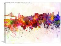 San Francisco skyline in watercolor background, Canvas Print