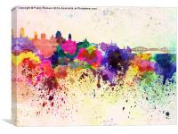 Quebec skyline in watercolor background, Canvas Print