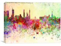 Guangzhou skyline in watercolor background, Canvas Print