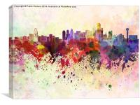 Dallas skyline in watercolor background, Canvas Print