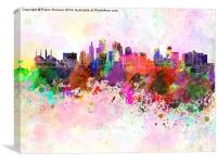 Kansas City skyline in watercolor background, Canvas Print